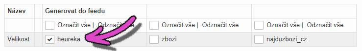 Administrace webareal.cz exportní feedy